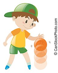 Boy bouncing basketball with one hand
