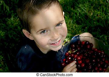 boy bowl cherries 2