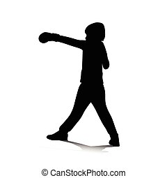 boy boxing vector silhouette