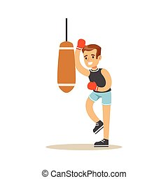 Boy Boxing With Punch Bag, Kid Practicing Different Sports And Physical Activities In Physical Education Class