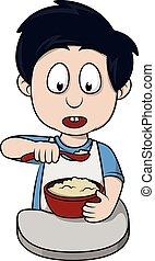 Boy breakfast cartoon illustration