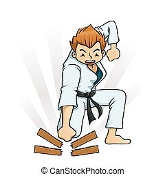 Boy Breaking Board in Karate - Young boy breaking board in...