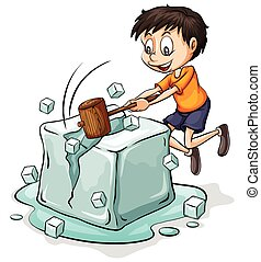 Boy breaking the icecube - Boy breaking the big icecube on a...