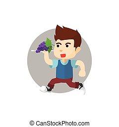 Boy bring fruit