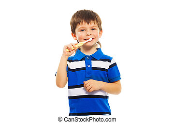 Boy brush his teeth