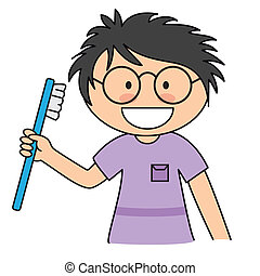 Boy brushing her teeth