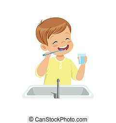Boy brushing his teeth and rinsing with water, kid caring for teeth in bathroom vector Illustration on a white background