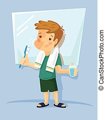 Boy brushing his teeth. Vector flat illustration
