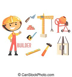 Boy Builder, Kids Future Dream Construction Worker Professional Occupation Illustration With Related To Profession Objects