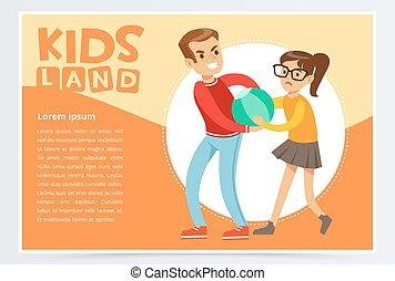 Boy bullying a girl, teen kids quarreling, aggressive behavior, kids land banner flat vector element for website or mobile app