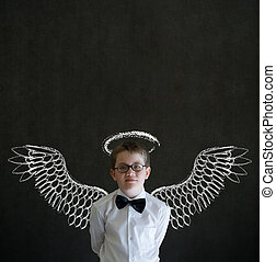 Boy business man with angel or investor wings and halo - Boy...