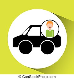 boy car sedan cartoon icon design