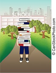 boy carries a big stack of books on the school and cityscape background, vertical vector illustration