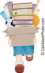 Boy Carrying Books - Illustration of a Boy Carrying a Box...