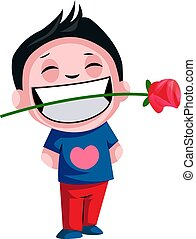 Boy carrying rose in his teeth illustration vector on white background