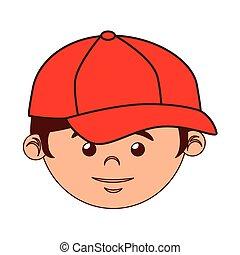 boy cartoon baseball bat isolated