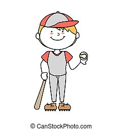 boy cartoon baseball happy isolated design