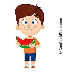 Boy cartoon character. Cute funny child