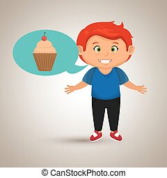 boy cartoon cup cake