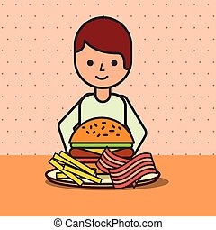 boy cartoon eating hamburger bacon and french fries