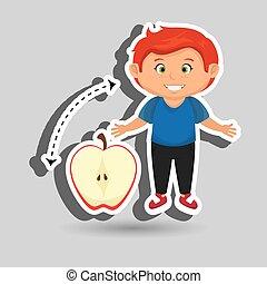 boy cartoon fruit sliced apple