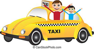 yellow car - boy cartoon over yellow car over white...
