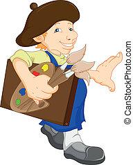 boy cartoon painter