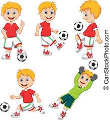 Boy cartoon playing soccer