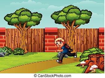 Boy cartoon running in the park city