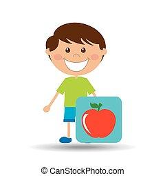 boy cartoon school apple icon design