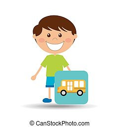boy cartoon school bus icon design
