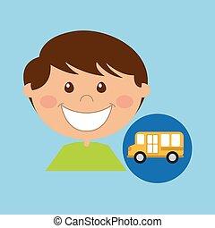 boy cartoon school bus icon design