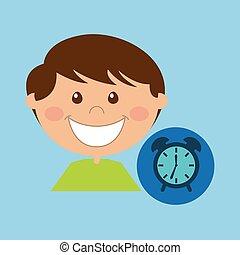 boy cartoon school clock icon design