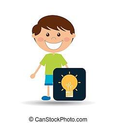 boy cartoon school idea icon design