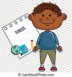 boy cartoon school student icon