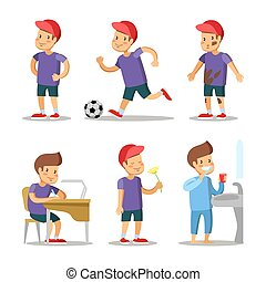Boy Cartoons Set. Happy Childhood. Vector Character illustration