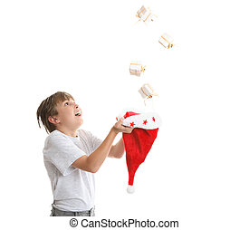 Boy catches falling gifts
