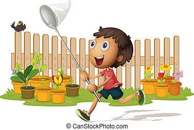 boy catching butterflies - illustrtion of a boy catching...