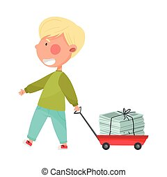 Boy Character Carrying Pile of Paper as Sorted Garbage for Recycling Vector Illustration