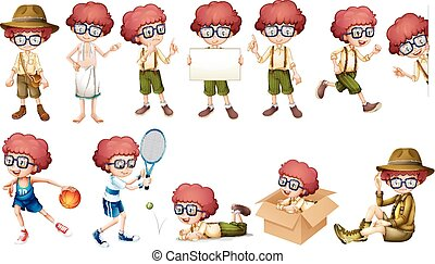 Boy character in different actions illustration