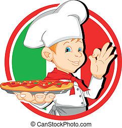 boy chef cartoon holding pizza illustration