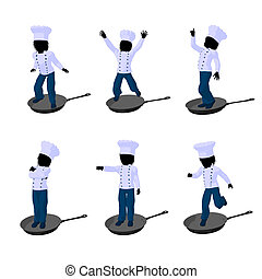 Boy Chef Silhouette Illustration