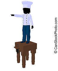 Boy Chef Silhouette Illustration - Boy chef on top of a...