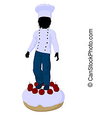 Boy Chef Silhouette Illustration - Boy chef on top of a cake...