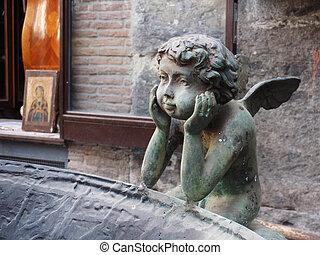 boy child angel statue