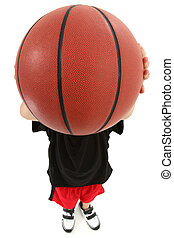 Boy Child Basketball Player Throwing Ball in Camera Face