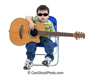Boy Child Guitar - Adorable Boy With Sunglasses And Acoustic...