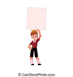 Boy, child, kid holding blank empty poster, board over head