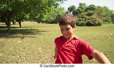 Boy, child, kid playing soccer
