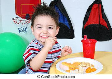 Boy Child Preschool - Two year old boy eathing cheese, ...